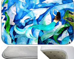 Mermaid Dolphin Party Plush Bath Mat, 20X15 - Bath mats from my original art and designs. Super soft plush fabric with a non skid backing. Eco friendly water base dyes that will not fade or alter the texture of the fabric. Washable 100 % polyester and mold resistant. Great for the bath room or anywhere in the home. At 1/2 inch thick our mats are softer and more plush than the typical comfort mats.Your toes will love you.