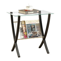 Monarch Specialties - Monarch Specialties 24 x 16 Rectangular Bentwood End Table with Tempered Glass - This modern magazine table is not only stylish but it is also versatile. It features a rectangular tempered glass top and a compartment for magazines. This magazine table is stained in a rich cappuccino finish and its unique crossing bentwood legs are sturdy for extra support. This table fits in perfectly with any decor. What's included: End Table (1).