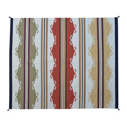 Area Rug, 10'X14' Flat Weave Navajo Design Hand Woven 100% Wool Rug SH11517 - Soumaks & Kilims are prominent Flat Woven Rugs.  Flat Woven Rugs are made by weaving wool onto a foundation of cotton warps on the loom.  The unique trait about these thin rugs is that they're reversible.  Pillows and Blankets can be made from Soumas & Kilims.