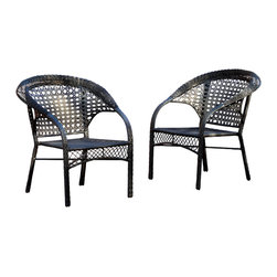 Great Deal Furniture - Malibu Black Wicker Outdoor Chair - The Malibu Black Wicker Outdoor Chair provides a pleasant outdoor seating experience. The black PE wicker not only is comfortable for sitting, but is durable enough to withstand the weather. Place them on the patio or along side your outdoor table.