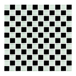 Glass Mosaic | Black and White Checkered - Black and white Checkered Glass Mosaic is a combination of black and white mosaic square tiles. These are placed alternately to create a checkerboard pattern. Perfect for a retro design theme for your home or building. These come in a smooth and a glazed finish.