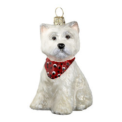 Frontgate - West Highland Terrier Puppy Ornament - Each ornament takes up to 7 days to produce. Constructed of 100% European-made glass. Arrives in a handsome black lacquered box for gifting and safekeeping. Hanger is included for easy display. Our collectible West Highland Terrier Ornament from Joy to the World was created with the utmost attention to quality and detail. The finest artisans in Poland individually mouth blow and hand paint each ornament, achieving new levels of innovation and artistic integrity in their designs. Using only traditional old world production methods and materials sourced from European countries, they ensure that each ornament is an impressive work of art that will be treasured for generations. . . . . Made in Poland.