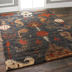 Jute Ikat in Navy, Gray, Orange and Taupe -