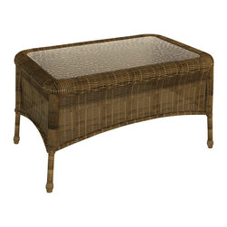 Forever Patio - Rockport Wicker Patio Coffee Table, Brown Wicker - Your Rockport sofa set is not complete without the equally handsome Rockport Coffee Table (SKU FP-ROC-CT-CN). Its UV-protected Chestnut wicker and round-weave design creates a warm, traditional look that is made to last. This table also includes a tempered glass top, providing a beautiful and durable surface that is easy to maintain.