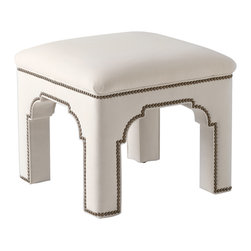 """Bunny Williams - Bunny Williams Home Taj Stool - The Bunny Williams Home collection elevates interiors with traditional yet expressive design. A Mughal-inspired form, the Taj stool delivers global intrigue in living rooms, bedrooms or entry halls. This petite ottoman's tightly upholstered seat and legs, carved arches and French nailhead trim provide striking sophistication. Available in several fabric options. Please contact shop@laylagrayce.com for further instructions on sending COM fabric. Manufactured in the USA using spring down technology. 21""""W x 21""""D x 18.5""""H. COM fabric: 3 yards required."""