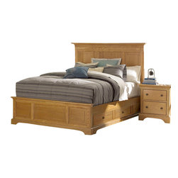 American Drew - American Drew Ashby Park 4-Piece Storage Bedroom Set - The Ashby Park collection is a casual, lifestyle collection with multiple options that will help you create the perfect bedroom. The design of the collection is simple, yet full of look. An eclectic mix of colors and materials gives this group the ability to fit into many settings; create a metro, casual, transitional, traditional or even coastal appearance by changing or mixing up the colors and textures. There are five finish options. The three wood tone finishes are Natural, Nutmeg and Peppercorn and the stained colors are Sage and Sea Salt. The semi-transparent finish is accomplished by applying the various colored stains onto the strong grain characteristics of Ash. This allows the wood undertones to naturally add depth and highlights to each piece. The wood tone finishes use a Dark Copper finished knob. The stained colors use a Nickel finished knob. The hardware adds to the simple styling of the pieces. With multiple bed and case piece options, finish and hardware options, Ashby Park is sure to fit the style and needs of many homes.