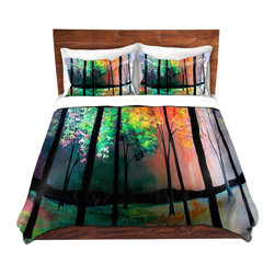 DiaNoche Designs - Duvet Cover Microfiber - The Four Seasons - DiaNoche Designs works with artists from around the world to bring unique, artistic products to decorate all aspects of your home.  Super lightweight and extremely soft Premium Microfiber Duvet Cover (only) in sizes Twin, Queen, King.  Shams NOT included.  This duvet is designed to wash upon arrival for maximum softness.   Each duvet starts by looming the fabric and cutting to the size ordered.  The Image is printed and your Duvet Cover is meticulously sewn together with ties in each corner and a hidden zip closure.  All in the USA!!  Poly microfiber top and underside.  Dye Sublimation printing permanently adheres the ink to the material for long life and durability.  Machine Washable cold with light detergent and dry on low.  Product may vary slightly from image.  Shams not included.