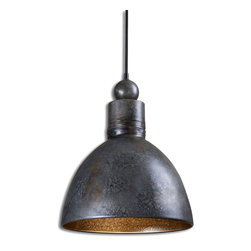 Adelino Pendant - In the villas of Bologna, the warm glow from artisan-crafted lights illumes joyous gatherings of family and friends, the near and the dear. Inspired by Italianate craftsmanship, the Adelino Pendant boasts a hand-forged metal finished in rich rust silver. The interior of the bowl-shaped shade displays a contrasting dappled gold finish that suffuses your surroundings with the gleam of old-world ambiance.