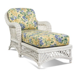 WickerParadise - White Wicker Chaise - Lanai - This white wicker chaise looks like a country garden, with its pretty floral print cushions and white lattice frame. But it's built tough, underneath those feminine charms, with wood decking and straps for extra strength and comfort. A lovely spot to relax and get lost in a good book.