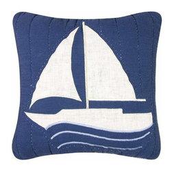 C & F Enterprises, Inc. - Nantucket Dream 14 x 14 Sailboat Quilt Pillow - -Cover: 100% Cotton Exclusive of Decoration  -Filling: 100% Polyester  -Spot Clean Only. C & F Enterprises, Inc. - 89193.1414B