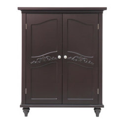 Elegant Home Fashions - Versailles Floor Cabinet with 2 Doors - The Versailles Double Door Floor Cabinet from Elegant Home Fashions features a dark espresso finish and offers storage with style for the bathroom. Its elegant crown molding top and two adjustable shelves helps make it easy to store items of different sizes. The exquisite engraving on the door panels provides an elegant look but with all the privacy.  The cabinet features metal knobs for easy opening. This sturdy cabinet comes with assembly hardware.