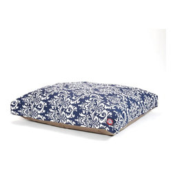 MAJESTIC PET PRODUCTS - Navy Blue French Quarter Rectangle Pet Bed - This stylish rectangular pet bed looks great in any room of your house and is filled with ultra-plush fiberfill for luxurious napping. The removable zippered slipcover is made from outdoor-treated, UV-protected polyester for durability, and the base is made from heavy-duty waterproof 300/600 denier fabric that can go inside or out. Spot clean the slipcover and hang dry. Comes in a variety of colors and patterns, so you can pick the one that complements your decor.