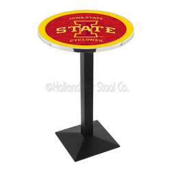 Holland Bar Stool - Holland Bar Stool L217 - Black Wrinkle Iowa State Pub Table - L217 - Black Wrinkle Iowa State Pub Table belongs to College Collection by Holland Bar Stool Made for the ultimate sports fan, impress your buddies with this knockout from Holland Bar Stool. This L217 Iowa State table with square base provides a commercial quality piece to for your Man Cave. You can't find a higher quality logo table on the market. The plating grade steel used to build the frame ensures it will withstand the abuse of the rowdiest of friends for years to come. The structure is powder-coated black wrinkle to ensure a rich, sleek, long lasting finish. If you're finishing your bar or game room, do it right with a table from Holland Bar Stool. Pub Table (1)