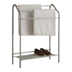 Adarn Inc. - Modern Chrome Metal 3 Racks Low Shelf Accent Bathroom Blanket Quilt Towel Rack - A stunning, comfortable, stylish, modern and tidy towel rack. It has a modern style. This rack is made of metal in chrome finish. It features three racks / towels and a lower shelf. This towel rack is a great addition to your room. Towels and accessories not included.