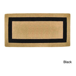 None - Heavy Duty Coir Single Picture Frame Door Mat - Naturally harvested coir fibers are hand woven in traditional looms and then sheared to create a dense 1-3/4 inches pile that helps trap dirt and moisture. An elegant design is hand stenciled on this mat using fade resistant dyes.