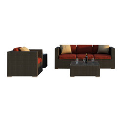 Harmonia Living - Urbana 3 Piece Modern Wicker Sofa Set, Henna Cushions - Turn your patio or deck into an outdoor entertainment center with this sofa, chair and table set. Each piece is made of high-density, polyethylene wicker that weathers the elements beautifully, so you can keep the party goi