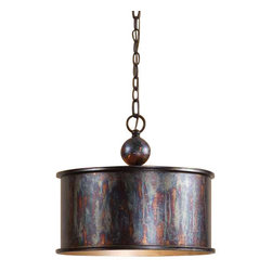 Uttermost Albiano 1 Light Oxidized Bronze Pendant - Oxidized bronze finish with a antiqued silver inside. Complex tonalities of metallic oxidation enrich these classic, simple shapes.
