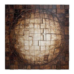 UMA - Square Globe Wood Wall Sculpture - A round globe rises out of a flat plane, inexplicably linking square shapes to create a round form.