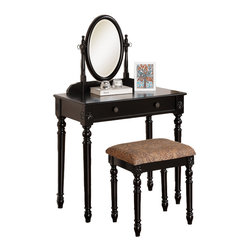 Adarn Inc. - Delightful Mark up Table Vanity Set Oval Swivel Mirror Bench Large Drawer, Black - This delightful vanity set features a vertical oval shaped attached mirror, single drawer and matching stool with curved and floral accents. Available in white, blue-grey, black and dark cherry.
