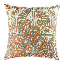 """Koko Company - Mikros Pillow, Orange, Blue, and Gold, 22"""" x 22"""" - Inspired by minute organisms in mineral colors."""