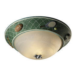"Justice Design Group - Justice Design Group KID-6194 17"" Sports Flushmount Ceiling Fixture from the Kid - *Kid's Room Collection ""Sports"" 17"" Flushmount Ceiling Fixture"