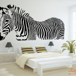 Zebra Wall Decal by Chamber Decals - Wow! This is a very dramatic zebra wall decal.