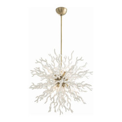 Arteriors - Diallo Large Chandelier, White - The timeless beauty of coral inspired this lacquered resin chandelier. It's the perfect pop of personality for a modern home. Your room will be filled with glistening light from eight silver bowl globe bulbs nestled amongst coral reef fringe.