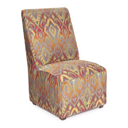 Howard Elliott - Opal Fire Martini Chair - The Martini Chair is dramatic and angular like the best martini you ever had! In our Ikat fabric it is sure to make a statement in any room you place it in. Handcrafted with hardwood and luxurious foam padding.