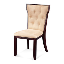 Bassett Mirror - Serenity Side Chair - With tufted beige microfiber upholstery and a slightly flared back, this side chair evokes simplistic elegance that will complement any traditional or transitional space. Plantation hardwood in a toasted tobacco finish adds warmth and sturdy support.