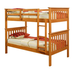 Donco Kids - Mission Twin Honey Bunk Bed - Put your kids to bed in style with this attractive twin bunk bed! Its sleek,clean modern design adds the perfect touch to any bedroom,all while saving TONS of space!