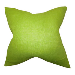 "The Pillow Collection - Ellery Solid Pillow Lime Green 18"" x 18"" - Drench your home with this cheery and soothing accent pillow. This toss pillow features a bright lime green hue which is perfect for adding a modern twist to your sofa, bed or chair. Use this 18"" pillow to add texture and comfort to your living room, bedroom or lounge area. Crafted from 100% durable burlap material and made in the USA."