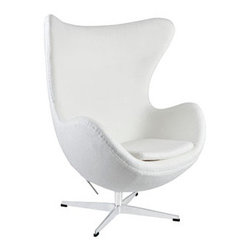 """LexMod - Glove Wool Lounge Chair in White - Glove Wool Lounge Chair in White - The Glove Chair provides evidence of movement in design to adapt more organic forms into our living spaces. Designed to remind us of the natural world, this chair provides sheer comfort and relaxation. Get back to nature with the Glove Chair. Set Includes: One - Glove Chair in Woolen Mix Upholstered in Wool, Aluminum Rotating Base, Re-enforced Fiberglass Frame Overall Product Dimensions: 31.5""""L x 35""""W x 42.5""""H Seat Height: 16""""H Armrest Height: 27""""H - Mid Century Modern Furniture."""
