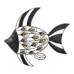 Metal Angelfish with Ceramic Stones Wall Art - This metal wall art complements beach and nautical decor beautifully. It features an angelfish with sculpted wire scales and decorative ceramic stones, with an overall weathered finish for character. This piece measures 22 inches long, 19 inches tall, 2 inches deep and mounts to the wall with 2 nails or screws. It is a wonderful decor item for beach inspired bathrooms or patios, as humidity will not damage it.