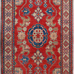 """ALRUG - Handmade Red Oriental Kazak Rug 3' 5"""" x 5' 5"""" (ft) - This Afghan Kazak design rug is hand-knotted with Wool on Cotton."""
