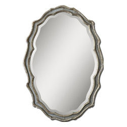 Uttermost - Dorgali Slate Blue Mirror - This Curvaceous Mirror Features A Frame Finished In Aged, Slate Blue Accented With Antiqued Silver Leaf Details And A Light Gray Wash. Mirror Has A Generous 1 1/4 in.  Bevel. May Be Hung Horizontal Or Vertical.