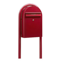Bobi Mailboxes - USPS Bobi Classic Mailbox with Round Mailbox Post, Red - **This listing and listing price is for both the mailbox and the mailbox post.