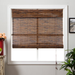 Arlo Blinds - Java Vintage Bamboo 74-inch Length Shade - Accent your home decor with a stunning bamboo Roman shade. Bamboo Roman shades are carefully woven to filter light. Each window treatment is made with real bamboo and other environmentally-friendly materials,also known as woven wood.