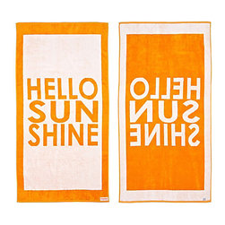 FREEMAN LCL - 100% Cotton Reversible Oversized Beach Towel, Orange/White, Hello Sunshine - This wonderfully lush, oversized beach towel features a fun hello sunshine print on both sides. Made from super plush cotton, this beach towel is reversible for versatility.