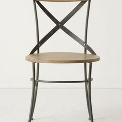 "Campaign Dining Chair - Industrial doesn't have to read ""cold"" — add in a few wood tones here and there and your traditional industrial space warms up! Great for a dining room in a set or as an occasional chair in the office."