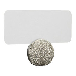 """L'Objet - L'Objet Pave Sphere Place Card Holders in Platinum - Modern in style yet traditional in essence, L'Objet Place Card Holders are an elegant addition to the table. Layered in 24K gold or platinum, the collection is rich in details, including hand-set Swarovski crystals and semi-precious gemstones. Set of 6.Platinum-PlatingSwarovski Crystals: Clear. Measures: 2"""" x 2"""" , 5cm x 5cmIncludes: Place Cards (Set of 25); Refill available. Luxuriously Gift Boxed"""