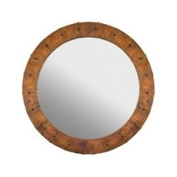 """KCK Bathroom Mirrors & Accessories - Tuscany Round Mirror - Beveled edge glass. Hand hammered copper. Nails forged by hand. Post-consumer recycled copper. Finish: Tempered Copper. 36"""" Width. Bathroom mirror available online at Kitchen Cabinet Kings."""
