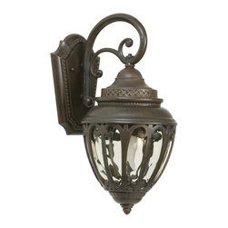 Exteriors - Exteriors Olivier Traditional Outdoor Wall Sconce - Small X-89-4083Z - This small Craftmade Olivier Traditional Outdoor Wall Sconce will stand out against any wall. Notice the intricately designed frame in a rich and warm, aged bronze finish that surrounds the shapely, champagne hammered glass shade. It's a marvelous piece that will enhance the look and feel of your home's exterior as it shines an inviting glow of light.