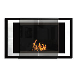 DecoFlame - Ambiance Modern Wall Mounted Ethanol Fireplace, Black - Ambiance provides a sophisticated and streamlined aesthetic to any space using stainless steel trim and contrasting high-gloss enamel, offered in black, brown or burgundy. This fireplace offers an eco-friendly flame that is odorless. Bio Ethanol, an alternative fuel source produced from plants, only emits water vapor and carbon dioxide into the air, therefore no chimney or flue is needed. Although ethanol fireplaces aren't intended for use as a primary heat source, the Ambiance model produces approximately 9,800 btu with the help of its stainless burner, which will change the noticeable temperature in a room of approximately 450 square feet. For aesthetic appeal and safety, this fireplace includes two tempered glass sliding doors that are situated in front of the flame. Appropriate for any modern or contemporary living space, Ambiance can be mounted on the wall using the included hardware.