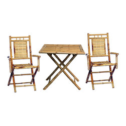 Bamboo54 - Square Table With 2 Chair Set - The Square Table with 2 Chair Set is perfect for conversation and enjoying a beverage. This furniture set will put you in mind of long, relaxing afternoons on the beach. Each piece features a convenient folding design that allows it to be toted easily and stored if needed. Its tabletop is constructed from smooth bamboo slats. Two Bamboo Folding Chairs are also included in this tropical patio set. They have sturdy frames built from bamboo pole, with slender slats forming the seats and backs. You can use this three piece casual dining set for summertime parties or to bring island style to the patio or sun room all year long! Indoor space or covered patios becomes more exciting with this Square Table with 2 Chair Set.
