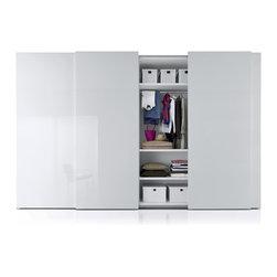 "Custom Made Closets with Sliding Doors - Subtle elegance with ""Plane"" sliding doors with lacquer finish."