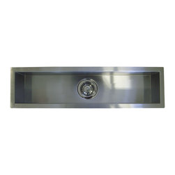 """Ariel - 42 Inch Stainless Steel Undermount Single Narrow Bowl Kitchen / Bar / Prep Sink - This full sized bar style prep sink is made of 16-gauge stainless steel and features contemporary zero radius corners. Exterior Dimensions 42"""" x 8-1/2"""". Interior Dimensions 40"""" x 6-1/2"""". Depth 6"""". Zero Radius Design."""