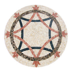 """Floor Medallions Online - 40"""" Mosaic Medallion - Hidalgo - With a unique circle and bent square combination, the Hidalgo's use of symmetry and colors draws our view inward and captivates us."""