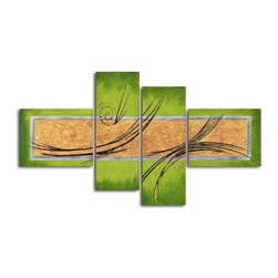 Gold on Backlit Pond 4-Piece Oil Painted Wall Art Set - A colorful composition of geometric contrasts, the Gold on Backlit Pond 4-Piece Oil Painted Wall Art Set is a large, four-piece artwork for the contemporary home or office decor. Its eye-catching lines and colors are painted entirely by hand using oil paints on canvas. This four-piece painting ships ready for immediate wall hanging, with canvases gallery wrapped and stretched over inch-thick wooden frames.