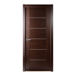 Maximum 201 Interior Door Wenge - The Maximum door series examplifies the Modernist style and elegance of our doors. The Maximum 201 door incorporates aluminum strips in its design. Anyone walking by this door is sure to turn their head and take a second look. The Maximum 201 can come in either Wenge or Bleached Oak finish.