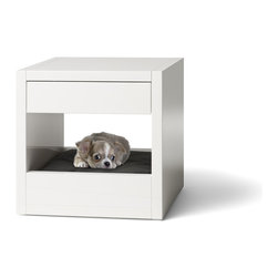 Bloq White Dog - It's a side table/nightstand that doubles as a dog bed — brilliant.